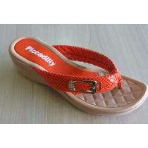 Tamanco Piccadilly Bege/laranja Lindo Modelo Otima Qualidade