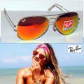 Óculos Rb Aviador Espelhado Vermelho 3025/3026  Frete Gratis