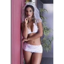 Lingerie Sensual Noiva Fogosa Noivnha Sexy Núpcias + Brinde