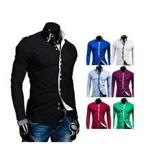 New Fashion Mens Casual Luxury Moda Slim Fit Longo Vestido D