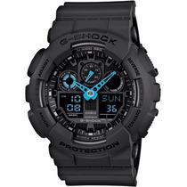 Relogio Casio G-shock Ga 100c 8adr Preto Azul