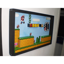 Mario World Quadro Diorama Jogos Snes Wii U Super Nintendo