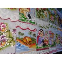 Pano De Prato Pintado Com Crochê Kit (12 Peças)