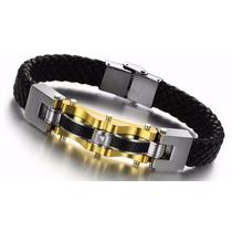 Pulseira Bracelete Masculino Algema Aço 316l Banho Ouro 18k