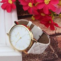 Relógio Feminino Branco E Dourado Social Bonito E Barato