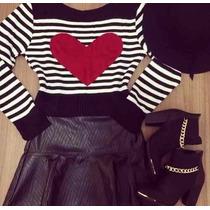 Blusa De Frio Feminina De Lã Trico Coração Listrado Cropped