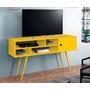 Rack P/ Sala Estilo Retrô Vintage P/ Tv De Até 50`- Amarelo