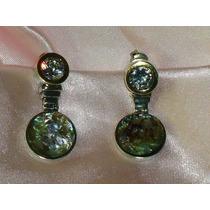 Lindos,elegantes Brincos Em Prata/zircônia/abalone,déc.90