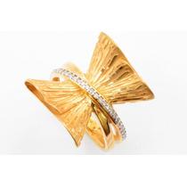 Anel Feminino Ouro 18k Laço C/ 28 Brilhantes + Frete 1353