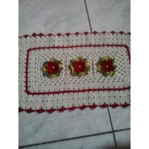 Tapetes De Barbante Com Flores Em Crochê