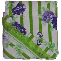 Lençol Malha Branco Verde Solteiro Enxoval Cama Mesa Banho
