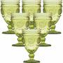 Jogo 6 Taças Aubusson Copo Vidro Verde 270ml Para Água Vinho