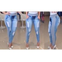 Calças Jeans Feminina Com Detalhes Em Moletom