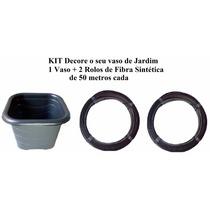 Kit Decore Seu Jardim 1 Vaso + 2 Rolos Fibra Sintetica Junco