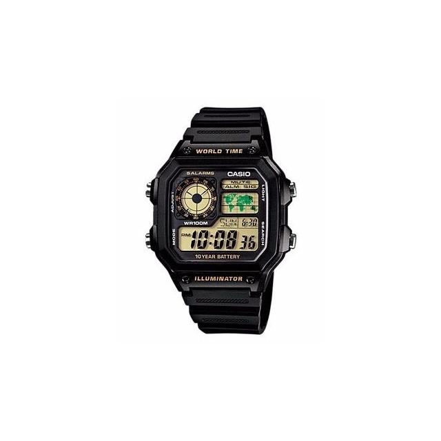 4e25271d5c3 Relogio Casio Ae-1200 Wh 1bv Horario Mundial 5 Alarmes 100m em ...