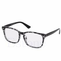 Armação De Óculos Com Lentes Transparentes /s Grau Cor Preto