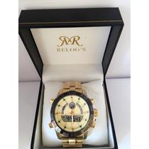Relógio Masculino Atlantis Dourado Pulseira De Aço
