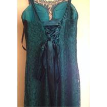 Vestido Longo De Festa - Verde Com Brilho E Renda Feminino