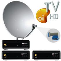 Kit Oi Tv Livre Hd 3 Pontos + Lnb Quadruplo + Cabo + Antena