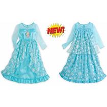 Vestido Camisola Elsa Frozen Longa Luxuosa Disney 9/10 Anos