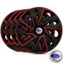 Jogo Calota Aro 14 Ds4 Black Red Ford Fiesta 2004/..-4 Pecas