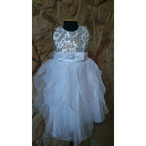 Vestido Infantil Festa Daminha Branco Paetês Prata
