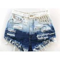 Shorts Customizado Jeans Destroyed Cintura Alta