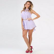 Vestido Lilás Curto Chamise Camisa Festa Casual Frete Grátis
