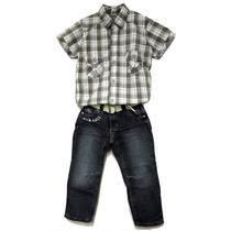 Conjunto Infantil Camisa Xadrez E Calça Jeans Com Cinto Ve