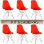 Cadeira Charles Eames Eiffel Dsr Vermelha Kit 6 Cadeiras