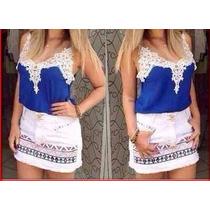 Blusa Blusas Cetim Renda Guipir Regata Femininas Azul