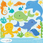 Kit Scrapbook Digital Animais Do Mar Imagens Clipart