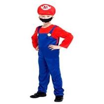 Fantasia Infantil Masculina Mario Bros Tam L Alt 1,20 A 1,30