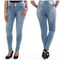 Calça Sawary Jeans Modela Bumbum Cintura Média C/ Bojos