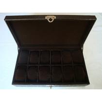Estojo Caixa Porta12 Relógios Couro Sintético Frete 10,00