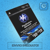 Playstation Network Card Cartão Psn Card $60 ($50+$10) Usa