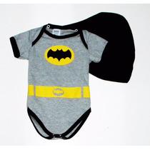 Body Infantil Batman Cinza C/ Capa P/ Festa De Mêsversário