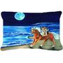Corgi Passeio Da Praia No Cavalo Tecido Decorativa Pillow 73