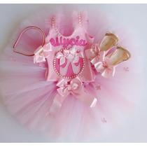 Fantasia Infantil Bailarina Collant Com Saia Tutu Rosa