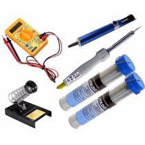 Kit Ferramentas Eletrônica Solda Multímetro Ferro Solda 127v