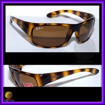 Óculos De Sol 4092 Armação Tartaruga Lente Marrom Polarizada