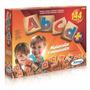Brinquedo Pedagógico Madeira A B C D Alfabeto 144 Peças