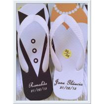 Kit 10 Pares De Chinelos Sandálias Personalizados Casamentos