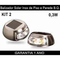 Luminária Balizador Led Solar Inox Piso Parede Amarelo Kit 2