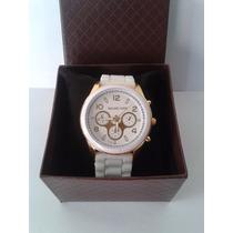 Lindo Relógio Feminino Mk Michael Kors - Branco E Dourado