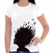 Camisa Camiseta Musica Notas Black Pentagrama Cabeça Linda