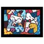 Quadro Releitura Romero Britto Cat Dog (55x85cm) Mold. Preta