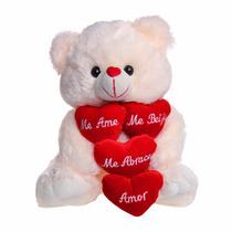 Urso De Pelúcia Gigante Com Coração 50cm Creme Namorados