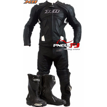 Macacão De Couro Motociclista X11 Speed+bota Texx Super Tech