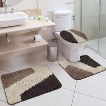 Jogo De Tapete Para Banheiro Riviera 3 Peças Jolitex